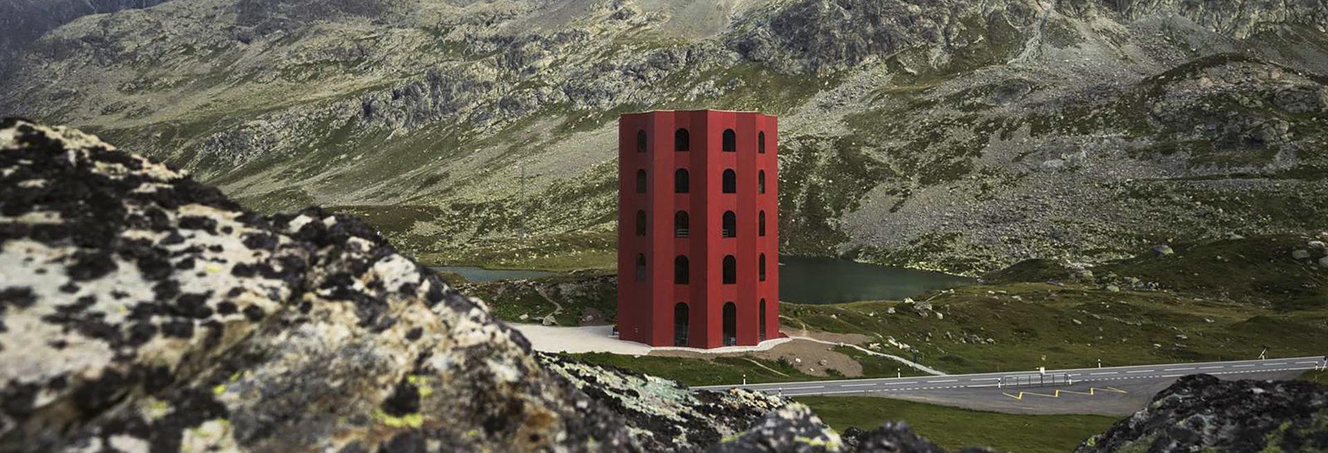 Hoch hinaus mit Invias: Origen-Turm auf dem Julierpass.